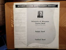 RED VINYL PRIVATE 2LP RECORD/72 ANNIVERSARY CONCERT UNIVERSITY OF WISCONSIN 1958
