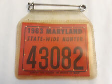 Vtg Collectible 1963 Maryland State Wide Hunter Hunting License With Holder