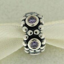 Authentic Pandora 791122ACZ Her Majesty Spacer Purple CZ Silver Bead Charm