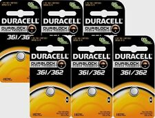 6 NEW! Duracell 361/362 Button Coin Battery Silver Oxide 1.5v Watch/Electronics