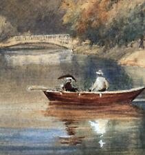 Fabulous Antique Original Watercolor Painting Lake Canoe Fall Signed