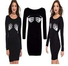 Mujer señoras de Halloween Vestido Túnica De Impresión Esqueleto Huesos manos más tamaño 8-22