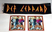 Vintage Retro Def Leppard Three (3) Sticker Lot 1983 Bumper + 2 Band Stickers