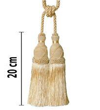 Gardinenhalter Raffhalter m.Kordel 70cm Quaste 20cm Light Gold Sand Doppelquaste