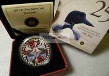 2012 Canada 25th Anniversary $1 Two Loons Colorized 1 oz Fine Silver Coin BoxCOA