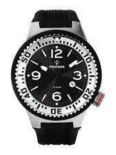 POSEIDON Herren-Armbanduhr XL Slim Analog Silikon UP00384 Schwarz UVP 119,- €