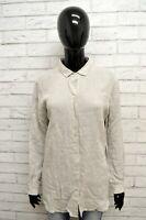 Camicia MARELLA Donna Taglia XXL Maglia Blusa Shirt Woman Lino Beige Regular Fit