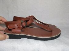 Aborigen Brown Leather BOHO Open Toe Sandals 8 For Women Used