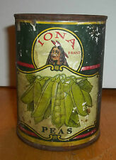 Vintage Iona Peas Tin Empty Can By Atlantic & Pacific Tea Company