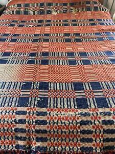 "Antique Handmade Geometric Woven Jacquard Coverlet Red White Blue 84"" x 89"" #895"