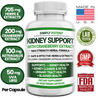 Kidney Support Restore Cleanse Detox Flush 705mg Capsule w Cranberry for UTI