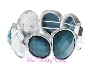 Vintage Matte Silver Stretch Bracelet w/ Organic Design Blue Grey Faceted Stones