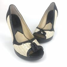 Michael Kors - Size 8.5M - Womens Woven Straw & Black Heels Shoes With Tassel