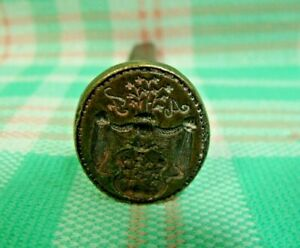 Antique 17th Century Nobility Steel & Brass Flowers Sealing Wax Stamp Seal