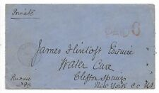 Stampless Cover PAID 6 from SARNIA, ON to CLIFTON SPRINGS, NEW YORK USA