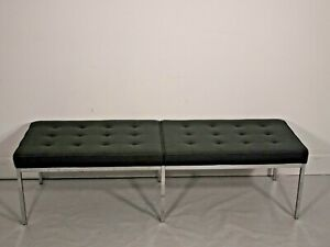 Immaculate Florence Knoll 2/3 seater bench seat in Mid grey wool