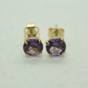 100% Genuine BRAND NEW 9K Gold 1.0cts Amethyst Stud Earrings. February Stone