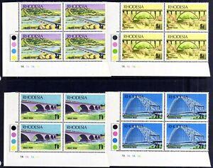 RHODESIA 1969 BRIDGES MNH PLATE BLOCKS, SG 435-438, 4 BLOCKS