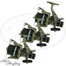 3 x Lineaeffe fishing reels camo commando 40 carp bait free runner coarse Tackle