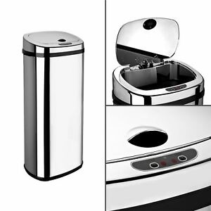 Dihl 30L 42L 50L Rectangle Chrome Sensor Kitchen Waste Dust Bin Automatic