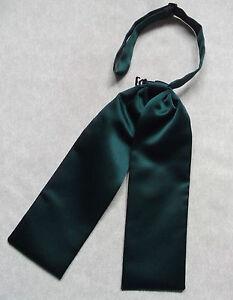 Wedding Cravat BOYS Adjustable Ascot Tie AGE 4 - 12 SILKY DARK GREEN