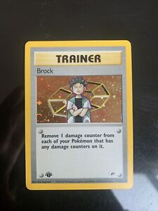 Pokemon Gym Heroes GymTrainer 1st edition Brock holo NM