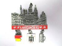 München Metall Charms Magnet 3 Anhänger Souvenir Germany Wappen