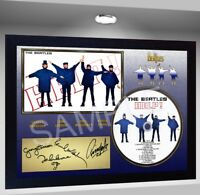 The Beatles HELP  SIGNED FRAMED PHOTO PRE-PRINT CD Disc Perfect gift
