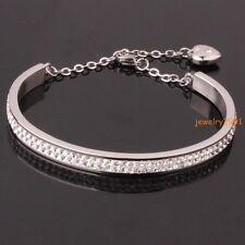 Stainless Steel Womens Silver Charm Open Cuff Full Crystal Bangle Heart Bracelet