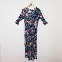 Billabong Womens Size 10 Black Floral Full button up Maxi Dress