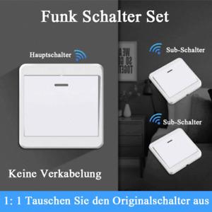 230V Wireless Funk Schalter Set 433 Mhz Wandschalter Doppel Lichtschalter Taster