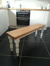 4FT Dining Bench, Handcrafted Solid Pine, Kitchen Bench, Bespoke Chair, Painted