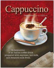 Cappuccino Italian Coffee Milk Espresso Cafe Drink Small Metal Steel Sign