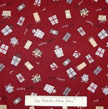 Christmas Fabric - Holiday Sparkle Gray Gifts on Red Cotton - Wilmington YARD