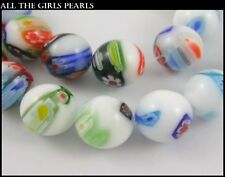 15 Handmade Millefiori White Porcelain 12mm Round Beads. (BOX76)