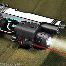 Power Flashlight&Red Dot Laser/Sight Combo Weaver Mount fit 4 Pistol/Gun Y17