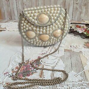 Handmade Vintage Side Bag Clutch Bag Shells Pearl's Purse Mermaid Bag - Hardcase