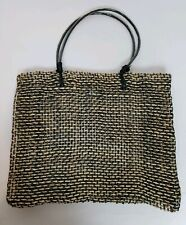 Zadig & Voltaire Black and Tan Woven Straw Twine/Rope Tote Bag Purse