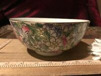 Vintage Hand Painted Decorative Bowl by Petals; Chinese Bowls; Decorative Asian