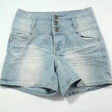 "Blue Asphalt Jean Shorts 9 Banded Waisted Light Wash Stretch Denim 4"" Inseam B79"