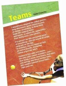 Kate Clanchy: Teams postcard (National Poetry, Scotland, unused)