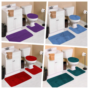 VELVET SET 3PC BATHROOM NON-SLIP 1 BATH RUG 1 CONTOUR MAT 1 TOILET LID COVER #6
