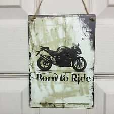Born to Ride Motorbike Christmas Gifts Retro Signs Vintage Bikers Present Plaque