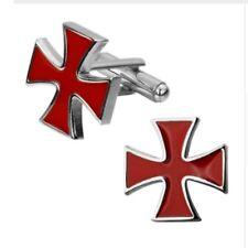 Gift Bag + Knights Templar Red Cross Design cufflinks Silver tone Cuff links Sym