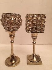 Crystal bead acrylic prism gem Candle Holders Gold Tone Pair  Wedding Bling