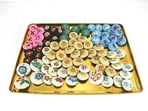 82 Pc Lot of Embroidered Buttons Round Shape Crafting Flowers Cherries Various