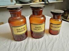 Lot de 3 anciens bocaux de pharmacie en verre brun, complets et bel état d'usage