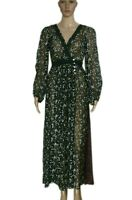 Free People Floral Printed Lace Button Long Sleeve Sheer Wrap Maxi Top New S