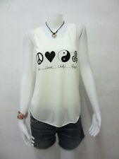 TK12 TANK TOP PEACE HEART YIN YANG TRISKLE NEW WOMEN M SINGLET LADY VEST GIRL
