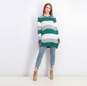 Maison Jules Women's Lightweight Striped Sweater Green Size L Large NWT